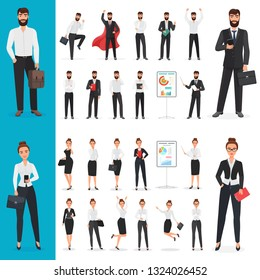 Business man and business woman office character in different poses design set.