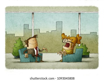 business man and business woman working in office with Panoramic windows