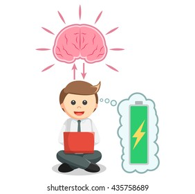Business man working with full brain energy