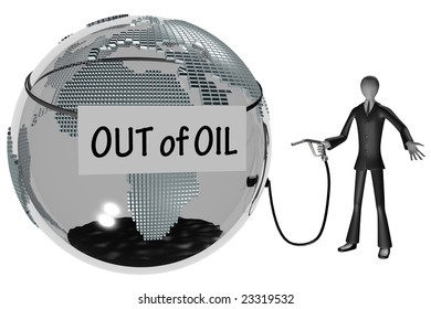 business man and world out of the natural resources. world crises. 3d image isolated on white background.
