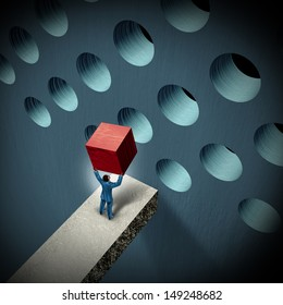 Business management challenges concept as a businessman holding a cube trying to make it fit in a round hole as a symbol of overcoming obstacles and adversity through strategy and strong leadership.