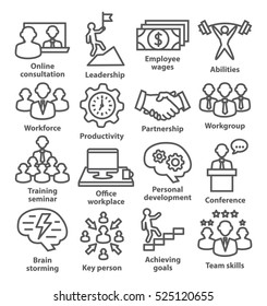 Business management icons in line style. Pack 11.