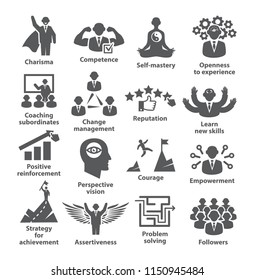 Business management icons. Pack 45. Icons for leadership, idol, career.