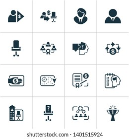 Business management icons set with problem solving, office chair, vacancy and other capitalist elements. Isolated  illustration business management icons.