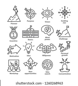 Business management line icons. Pack 41. Icons for leadership, career, strategy.