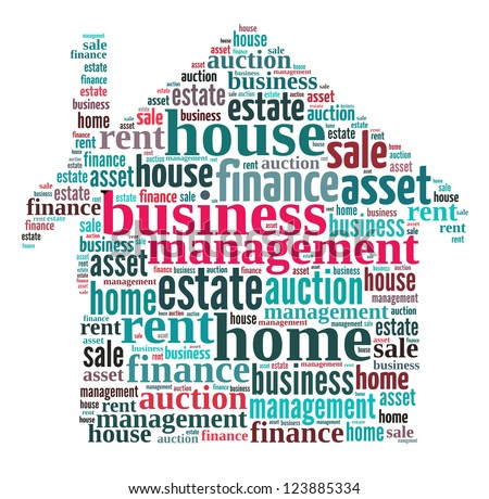 Business Management Word Collage Composed House Stock Illustration