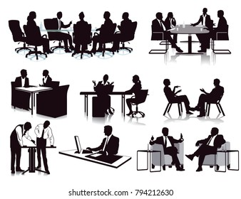 Business meeting discussion, illustration