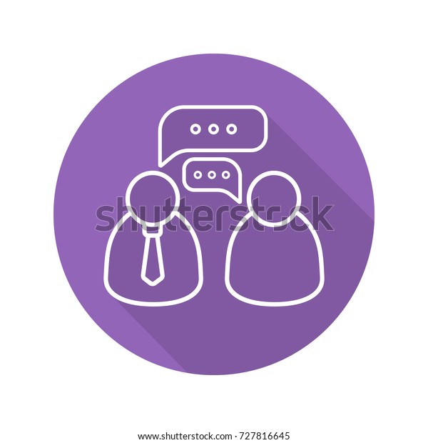Business Meeting Flat Linear Long Shadow Stock Illustration