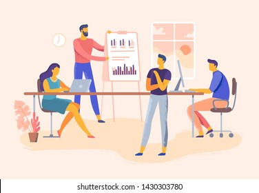 Business meeting. Office team skills presentation, company management and teamwork planning. Executive training or it meeting conference. Business industry  illustration