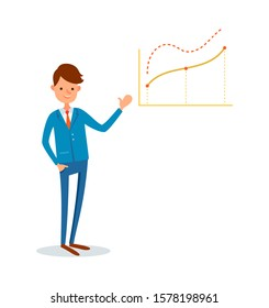 Business meeting, presenter with whiteboard info in visual form raster. Businessman with presentation and statistics data increasing charts, flat style