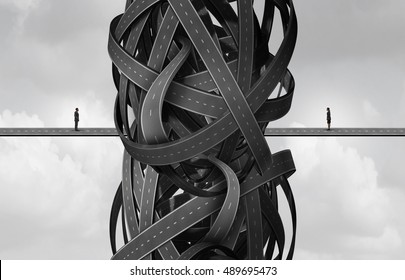 Business meeting problem as a businessman and businesswoman  facing tangled confused roads as a metaphor for relationship failure and trouble or partnership crisis with 3D illustration elements.