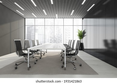 Business meeting room with black armchairs and white table, grey carpet on white floor. Black shelf and plant near windows with city view, 3D rendering no people