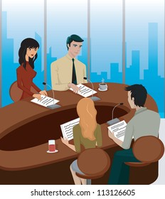 A business meeting at a round table