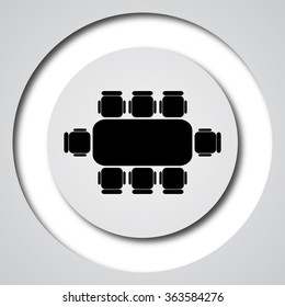 Business meeting table icon. Internet button on white background.