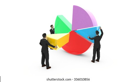 Business men are assembling a pie chart. Everyone contributes to the development of graphic data.