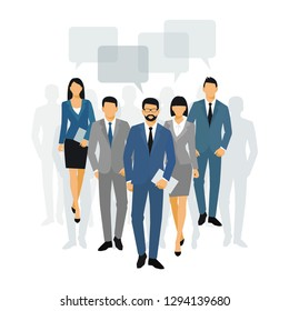 Business men and women silhouette. team business people group hold document folders  on white background. Business people and speech bubble. bitmap