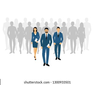 Business men and women silhouette. team business people group hold document folders. Teamwork concept. bitmap