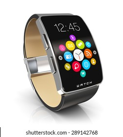 Business mobility and modern mobile wearable device technology concept: digital smart watch or clock with color screen interface with colorful application icons and app buttons isolated on white