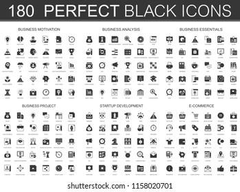 Business motivation, analysis, business essentials, business project, startup development, e-commerce black classic icon set.