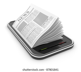 Business newspaper on smart  phone. Mobile device concepts 3D.  isolated on white