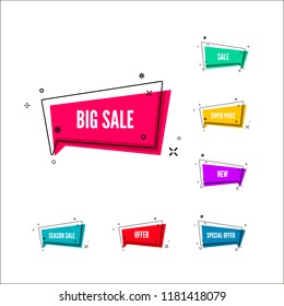 Business offers banner. Color retail labels. Colorful bubble with promotion text. Set of geometric promo template. illustration isolated on white background