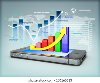 Business on a smartphone, Modern media touch screen technology, smartphone connecting information to the world, line graph business growth and finance concept. 3d model scene