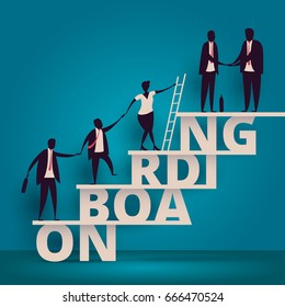 Business onboarding concept. HR manager hiring employee or workers for job. Recruiting staff or personnel in company. Organizational socialization illustration. Talent acquisition illustration.