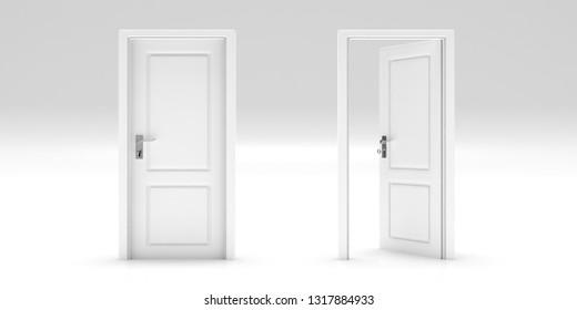 Business opportunity, door open, door closed, Doors set isolated on white background. 3d illustration