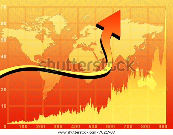 Business orange background with chart, arrow and world map