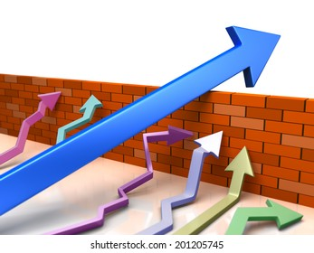 Business overcomes obstacles. conceptual  illustration