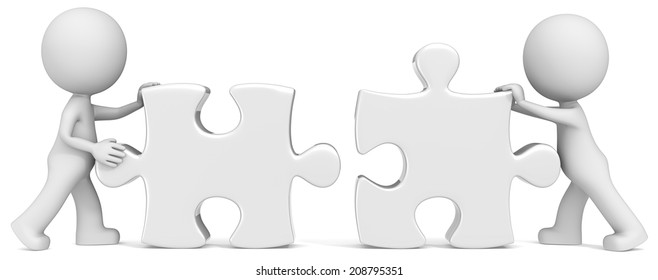Business Partners. Dude the partners x 2 putting white puzzle pieces together.
