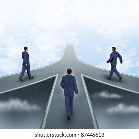 Business partnerships featuring three business men walking on different roads to the same goal as a team working together as a strategic corporate alliance with a sky background.