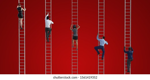 Business People Climbing Ladders to Reach the Top 3D Render