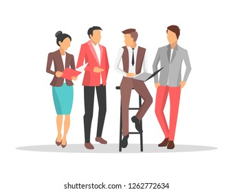 Business people discussing important things, man sitting on chair and holding papers, his colleagues listen to him, picture on raster illustration