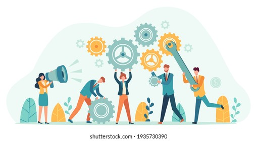 Business people with gears. Employee team create mechanism with cogs, manager with megaphone. Tiny person teamwork motivation  concept