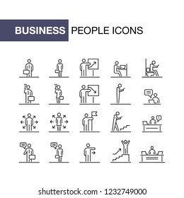 Business people icons set simple line flat illustration.