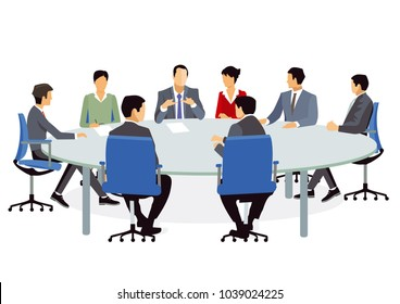 Business people at the meeting and advise, Illustration