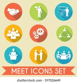 Business people meeting and collaborating strategic concepts pictograms icons set flat isolated  illustration