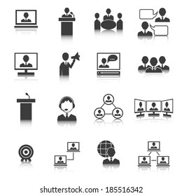 Business people meeting online and offline strategic concepts icons set isolated  illustration