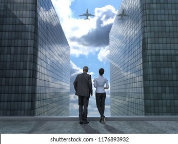 business people on roof of a skyscraper, 3d illustration