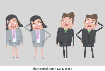 Business people relaxing and stressing. Isolated.. 3d illustration