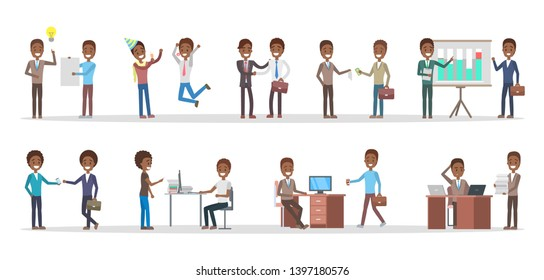 Business people set. African american office characters work in team.
