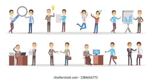 Business people set. Office characters work in team. Group of businessmen in suits in different poses. Isolated  illustration in cartoon style