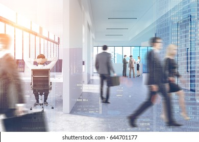 Business people in suits are walking in an office lobby with white walls, panoramic windows and glass doors. Cityscape in the background. 3d rendering, toned image, double exposure