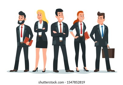 Business people team. Office teamwork, professional finance workers group and businessman characters. Salesman team, colleagues conference meeting or freelance businessman cartoon illustration