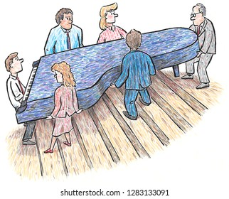 Business people using teamwork to move a piano
