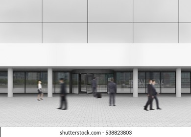 Business people are walking near the entrance to office building. Concept of corporate work. 3d rendering. Mock up