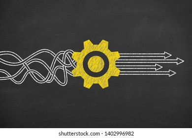 Business Person Drawing Service Concepts on Chalkboard Background