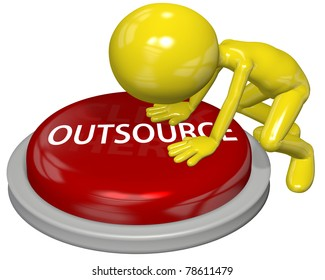 Business person pushes the OUTSOURCE button to hire independent contractor help