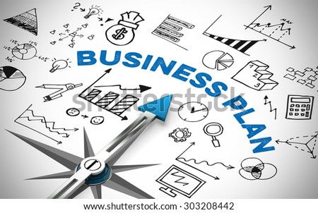 business plan compass many financial iconsのイラスト素材 303208442